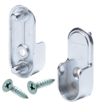 Oval Closet Rod End Cups - Rear Pin - Polished Chrome